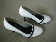 Ladies White and Black Slim Heeled Court Shoes Size 5