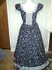 Civil War/Victorian Era Day Gown of Black Print, White Venice lace, size 16