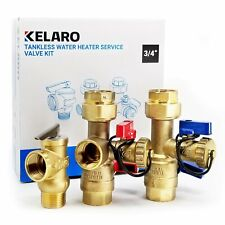 Tankless Water Heater Isolation Service Valve Kit (3/4 Inch Ips) by Kelaro