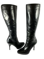 VIA SPIGA Leather Stiletto Platform Heels Knee High Black Boots Womens Sz 9M