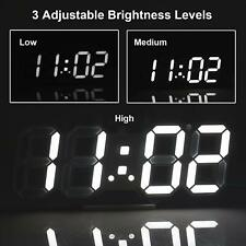 Digital 3D LED Wall Clock Alarm Snooze Watch 12/24 Hour Display USB Modern USA