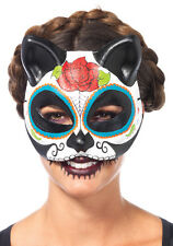 Sugar Skull Cat Mask Costume Halloween Stylish Cute Half Face Cover Womens