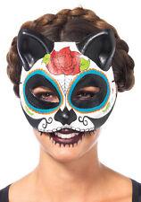 Sugar Skull Cat Mask Costume Halloween Stylish Cute Half Face Cover Womens