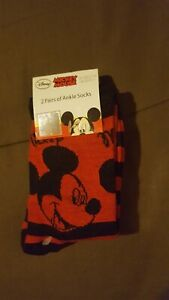 BNWT Boys 2 Pairs Mickey Mouse Ankle Socks Size UK 9 - 11