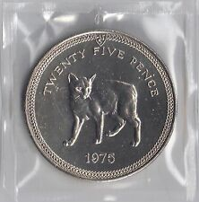 IOM Isle of Man Manx 1975 QE II 1 Crown 25p  Manx Cat Uncirculated Sealed Wallet