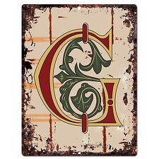 PP0515 Alphabet Medieval Initial Letter G Chic Sign Bar Shop Store Home Decor