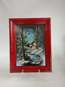 Winter Woods Scene Paint By Number Paintings, Red Framed, Non Glare Glass