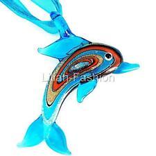 8178ff8dc2ba Aqua Dolphin Animal Lampwork Glass Murano Bead Pendant Ribbon Cord Wax  Necklace