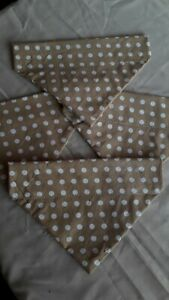 Slide on dog bandanas size XS in mustard with white spots .cotton