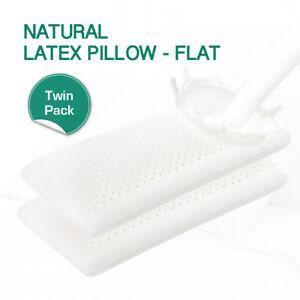 TWIN PACK 100% NATURAL FLAT LATEX PILLOW - BONUS FINE WHITE STRETCH COVER