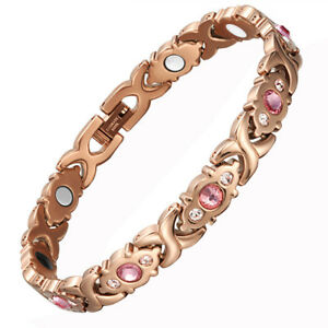 Womens Rose Gold Titanium Steel Magnetic Therapy Bracelet Arthritis Pain Relief