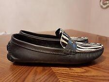 eb4536c9acc MERCANTI FIORENTINI Black   White Zebra Print Leather Flat Loafers Shoes  Size 6B