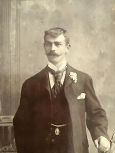 CC Gay Int. HANDSOME YOUNG MUSTACHE MAN Fancy Set 1880-90s CABINET PHOTO 9/10
