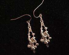 14k Rose Gold Vintage French Cherub-on-Swing Earrings