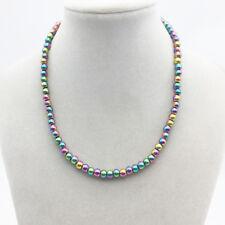 Regenbogen Hämatit Perlen rosa grün blau lila Halskette Collier Kette Magnet neu