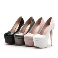 Ladies Party Shoes Synthetic Leather Platform High Heels Club Pumps US Size s938