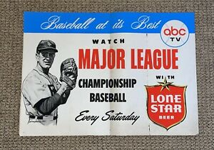 RARE VINTAGE Lone Star Beer Paper Baseball ABC TV Advertising Poster 1960's