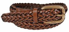 New Gucci Women's 380606 Brown Leather Braided Golden Buckle Belt 38 95