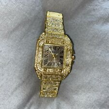 Mens Iced Out Watch Lab Diamonds Gold Trapstar Hiphop R&B Bling Rap Shine Gold