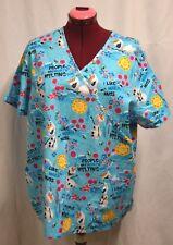 Nurse Vet Tech Dental Scrub V-neck Top Disney Olaf - I like Warm Hugs 2XL
