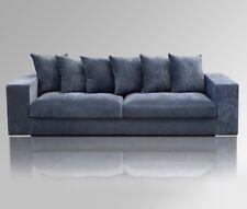 Amaris Elements | Sofa 4 Sitzer blau grau Samt Stoff 4er Couch 265x106xH65cm