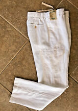 Caribbean 100% Linen Cargo Pants Mens 36 x 32 White w/ Elastic Waist NWT $79
