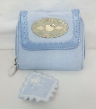 "Sanrio HELLO KITTY ANGEL Blue Canvas 4.5""x4"" Bi-Fold WALLET w Coin Purse NEW"