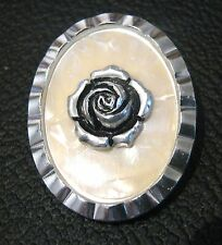 Gorgeous costume jewelley brooch in silver tone metal with rose design 1.75 ins