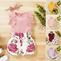 3PCS Newborn Toddler Baby Girls Clothing Set Romper Floral Shorts Summer Outfits
