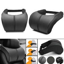 2x Black PU Leather Car Seat Headrest Cotton Pillow Adjustable Head Neck Cushion