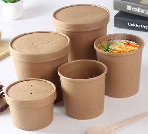 100x Kraft Paper Soup Containers Cups Heavy Duty in 8oz 12oz 16oz 26oz 32oz Lids