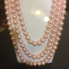"""NE PINK/WHITE Strings Shell Pearl Necklaces 60""""/150cm x 9mm Round Knotted CRUISE"""