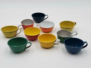 Vintage Lot Miniature Tin Kids Toy Teacup Tea Cup Super Colors