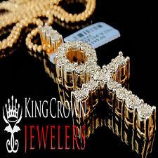 Real Genuine Diamond Ankh Cross Pendant Charm Chain Set In 10K Rose Gold Finish
