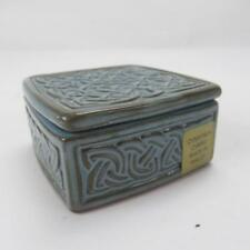 Ceramic Blue & Brown Trinket Box with Celtic Knot Pattern Design - Made in Wales