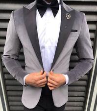 Designer Grey Velvet Suit Smoking Hochzeitanzug Suit Fitted Slim Fit 48