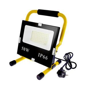 50W LED Fluter Flutlicht + Gelb Stativ Baustrahler Scheinwerfer mit Stecker