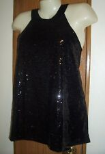 L TANK TOP SEQUIN BLACK SWING HALTER LG CHOKER NECK 11 13  DRESSY WORK CLUB DATE