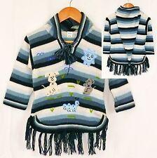 Alpaka Fransen Pullover: Gr. 80/86 blau weiß  XXL Zipfelkapuze Peru Inka Tiere