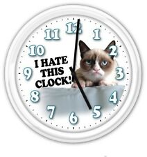 Grumpy Cat SILENT Wall Clock - I Hate This Clock - Cat Lover - Funny GREAT GIFT