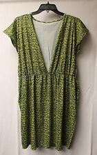 NEW WOMENS SIZE LARGE 14/16 14 16 BLUE & LIME DAMASK BATHING SWIM SUIT COVER UP