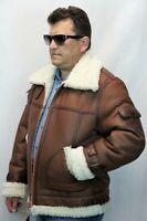 100% REAL SHEEPSKIN SHEARLING LEATHER Bomber B3 Flight Jacket Coat S-6XL Cognac