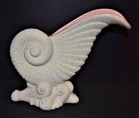 "Vintage Royal Haeger 10"" Nautilus Boca Glaze Shell Cornucopia Vase Art Deco"