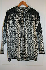 Pure Wool Black & White Dale of Norway Ladies Sweater Cardigan L Large