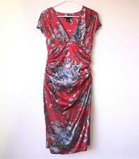 Arden B.Red Grey Silk Floral Sheath Dress Midriff Ruching Empire Waist Lined 2