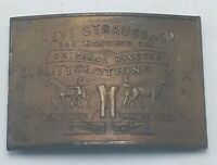 "Vintage Solid Brass Western Belt Buckle 3 1/4"" x 2 1/4"" Levi Strauss SF"