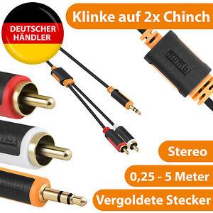 Klinke Chinch Audio Y Splitter Kabel AUX zu RCA Adapter 3.5mm Klinke x2 Chinch