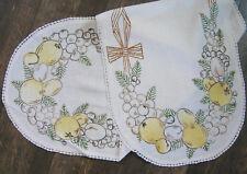 """Vintage Embroidered Runner, Fruit & Pine, Crochet Edge, 45"""" Long"""