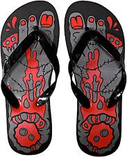 85500 Black Red Womens Bloody Zombie Feet Flip Flops Sourpuss US 6 EUR 3.5