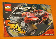 Lego Set 8136 INSTRUCTIONS ONLY Racers Fire Crusher Manual Booklet Crash Car
